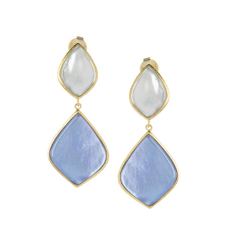 Sky Blue + Poppy Blue Sliced Doublet Dangle Earrings