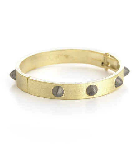 Spiked Two Tone Hinged Bangle - Closeout