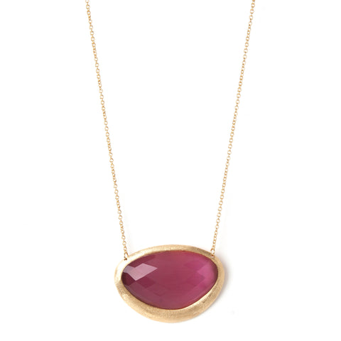 Raspberry Cat's Eye Pendant Necklace