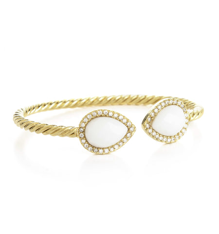 White Agate + Simulated Diamond Bangle