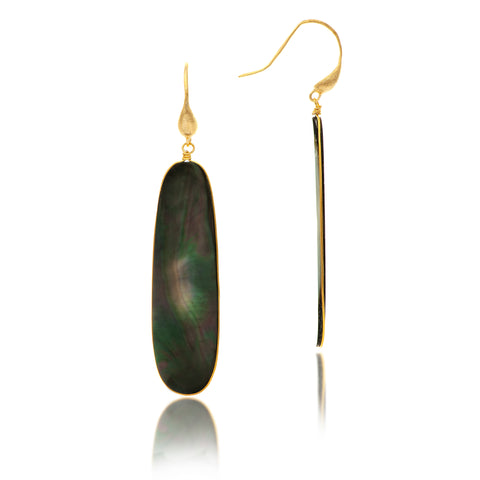Black Mother of Pearl Sliced Dangle Earrings