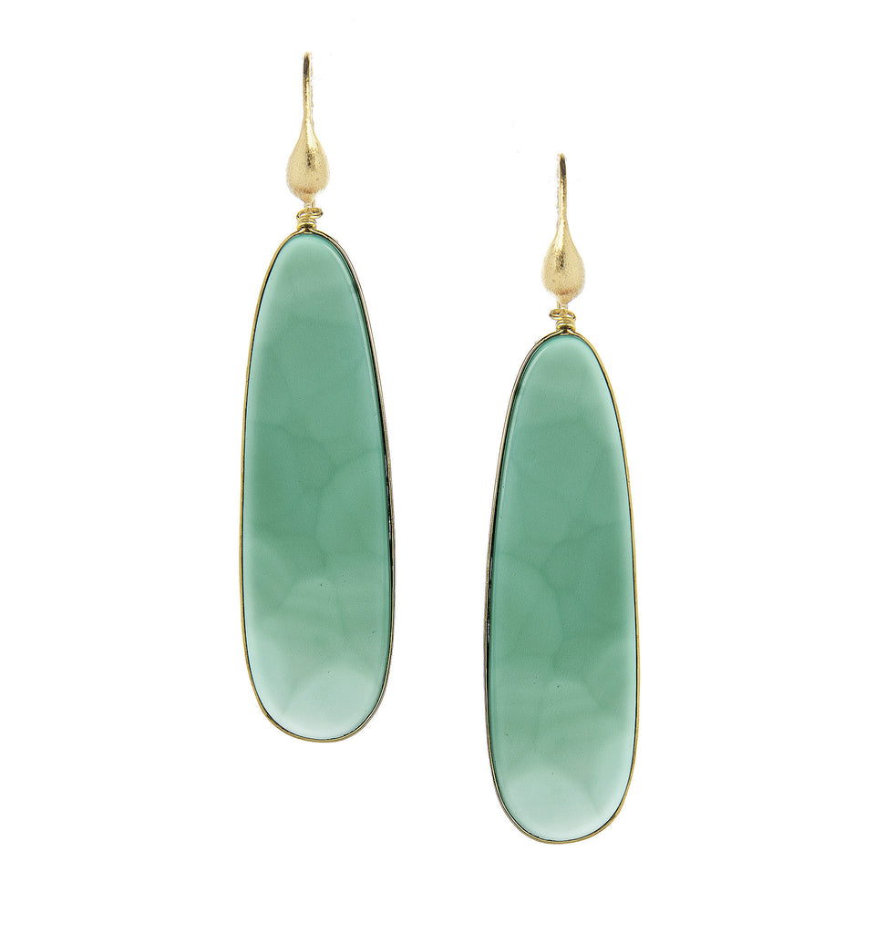 Green Onyx Sliced Dangle Earrings