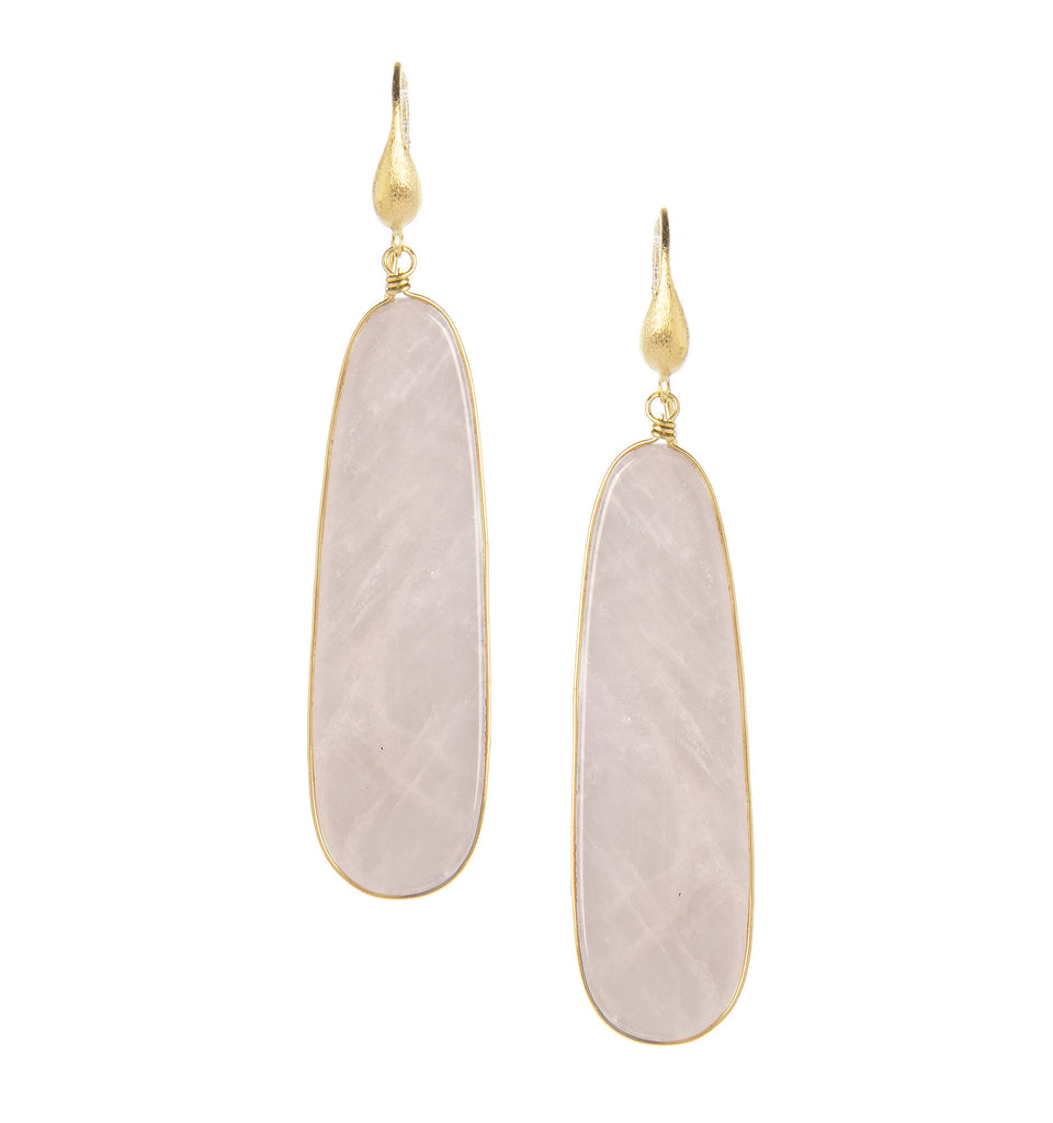 Rose Quartz Sliced Dangle Earrings