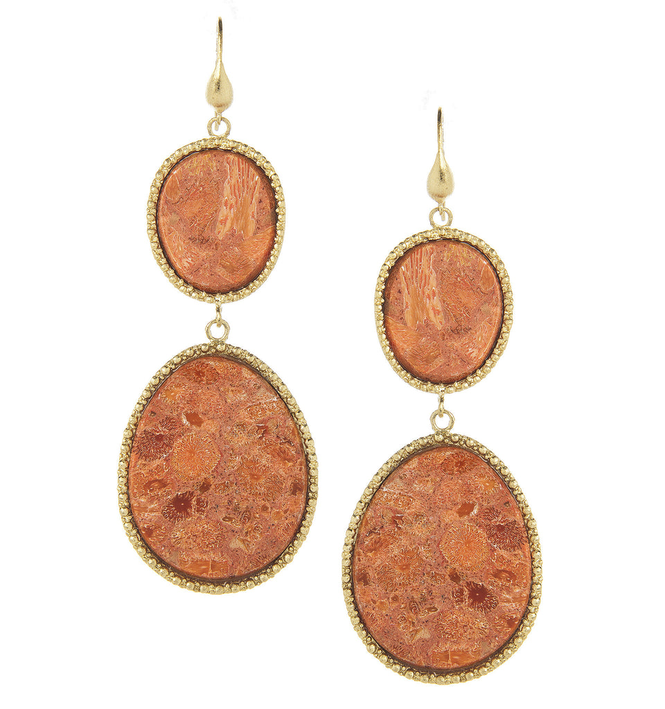 Coral Double Dangle Sliced Earrings