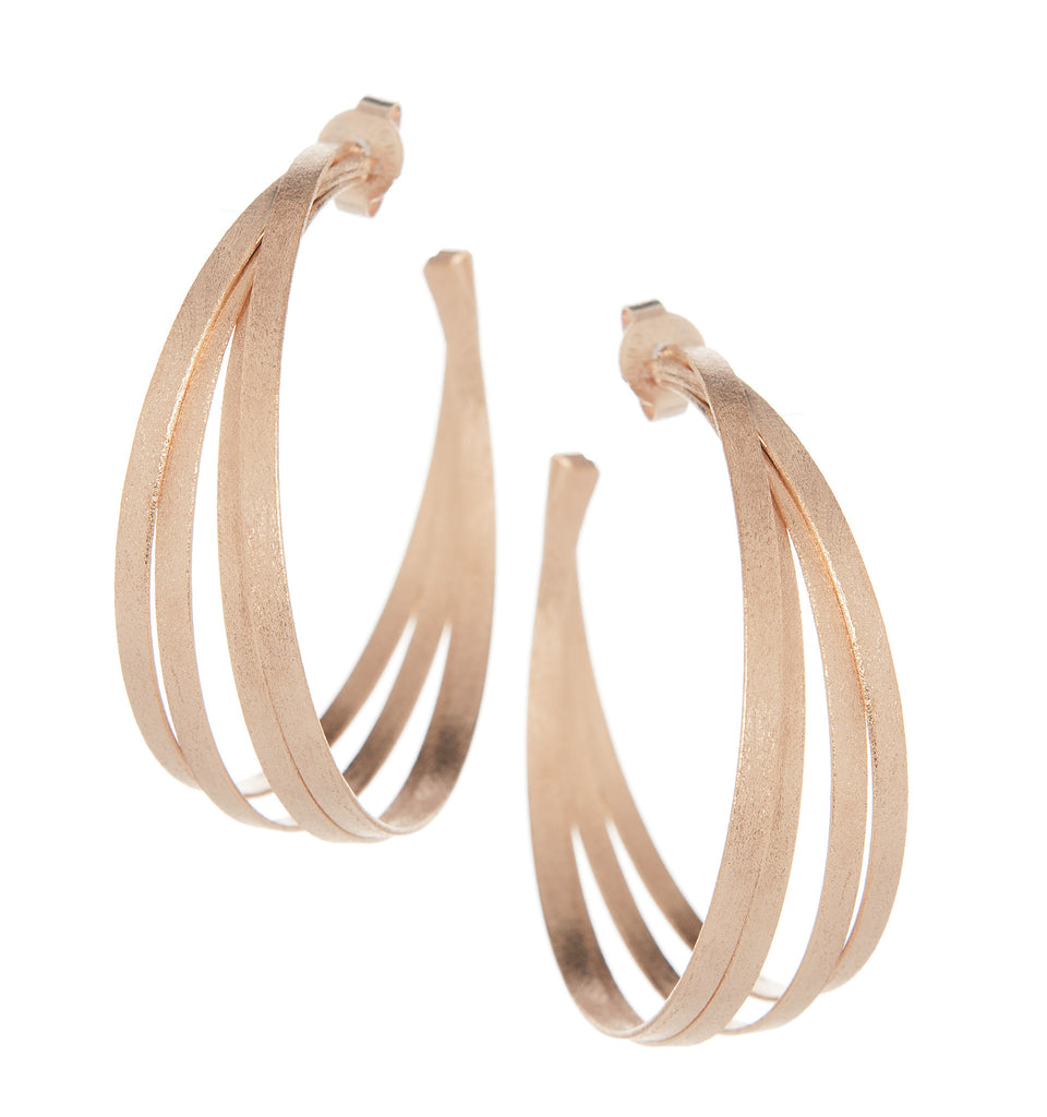 Large Rose Gold Multi Ring Hoop Earrings