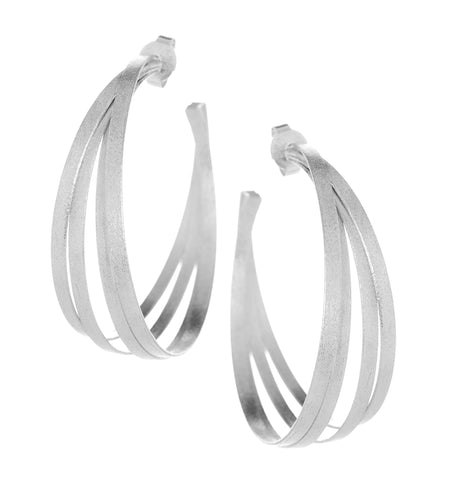 Large Rhodium Multi Ring Hoop Earrings