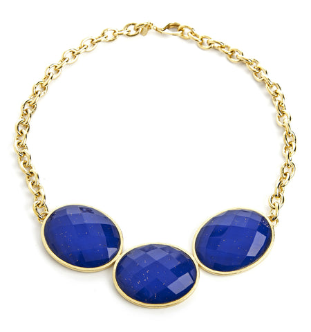 Lapis + Mother of Pearl Doublet 3 Station Necklace - Closeout