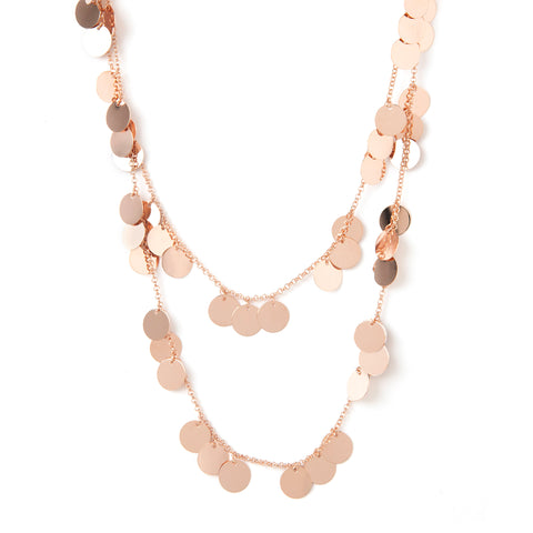 Rose Gold Polished Multi Disc Double Row Necklace
