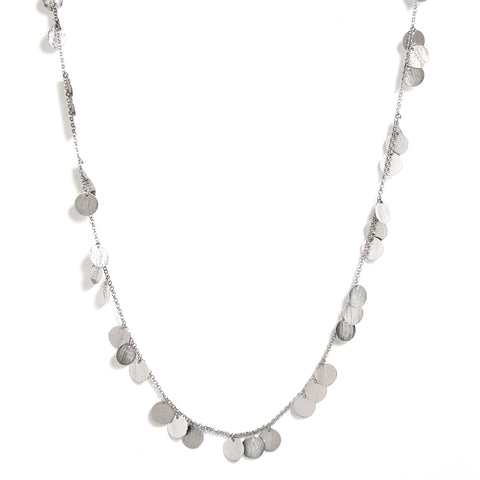 "Rhodium Satin Multi Disc 36"" Necklace"