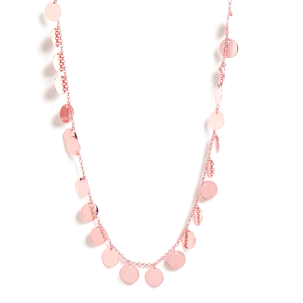 "Rose Gold Polished Multi Disc 18"" Necklace"