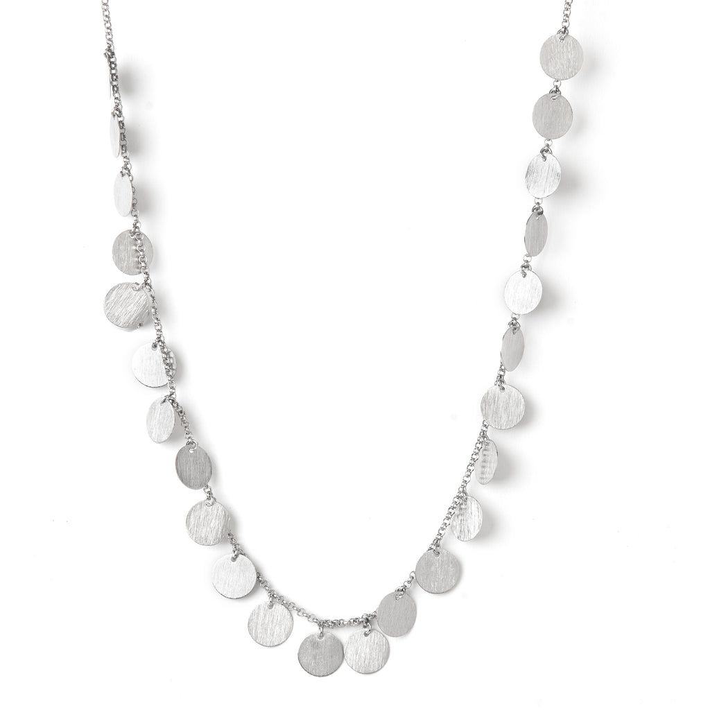 "White Rhodium Satin Multi Disc 18"" Necklace"