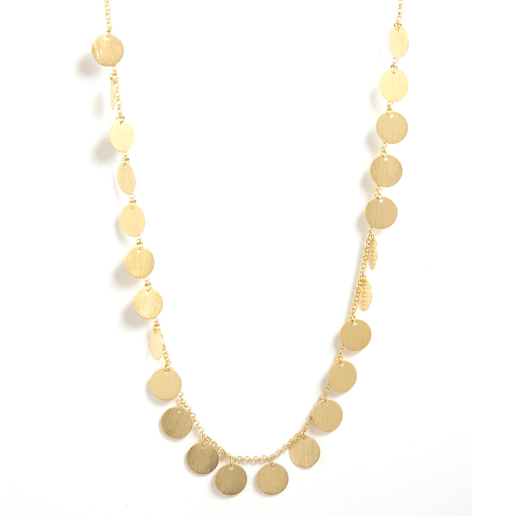 "Gold Satin Multi Disc 18"" Necklace"