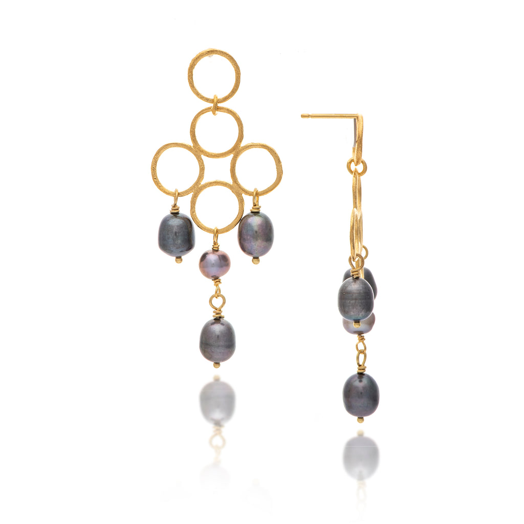 Black Freshwater Pearl Chandelier Earrings
