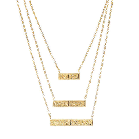 Triple Gold Druzy Quartz Bar Necklace