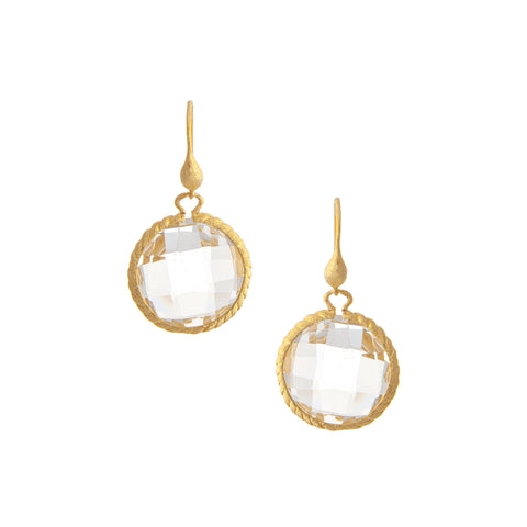 Rock Crystal Round Dangle Earrings