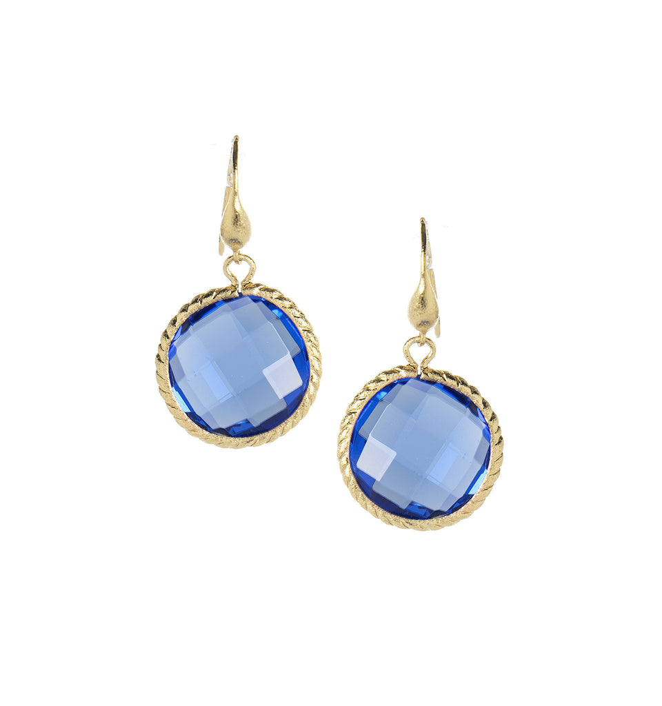 Poppy Blue Round Dangle Earrings