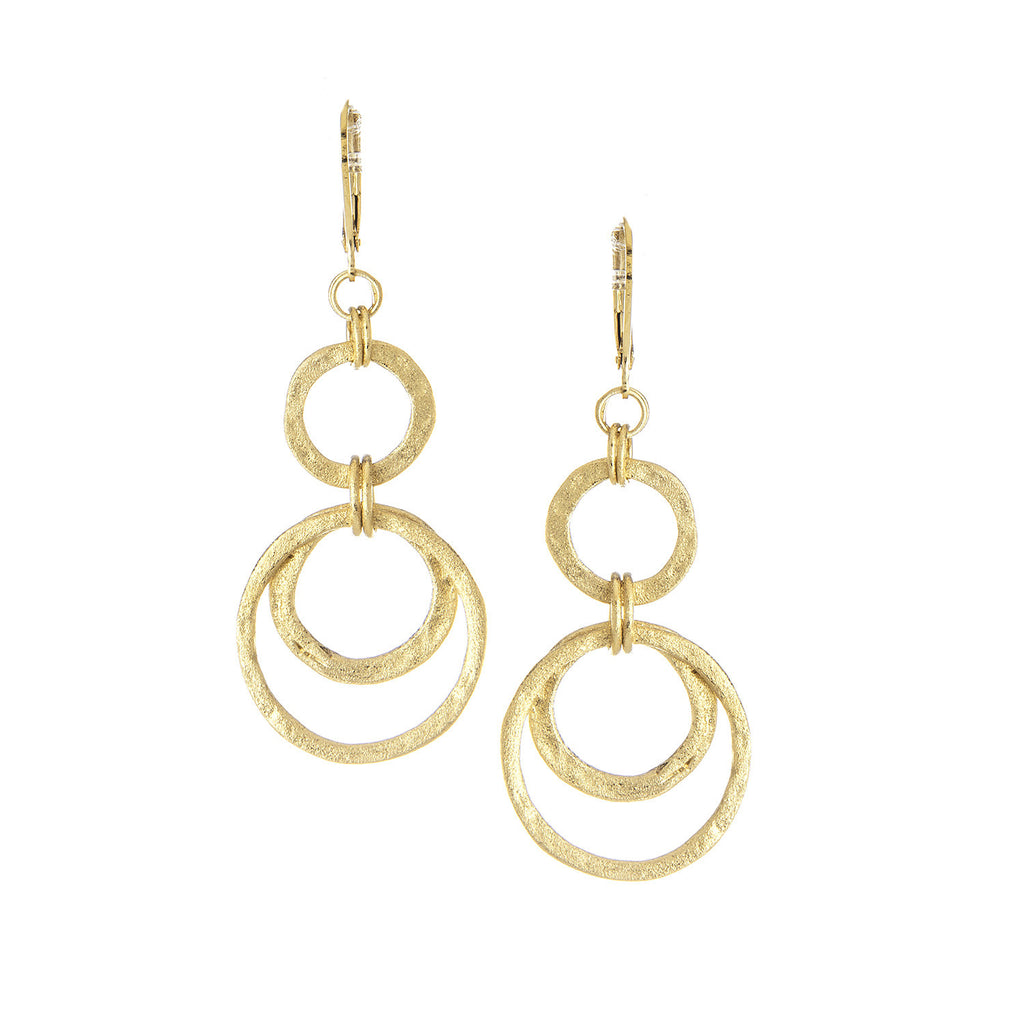 Multi Circle Hammered Earrings