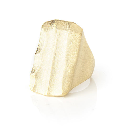 Satin Wavy Rectangle Cocktail Ring
