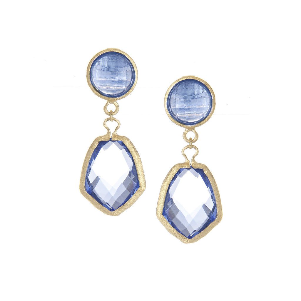 Swiss Blue Double Dangle Earrings