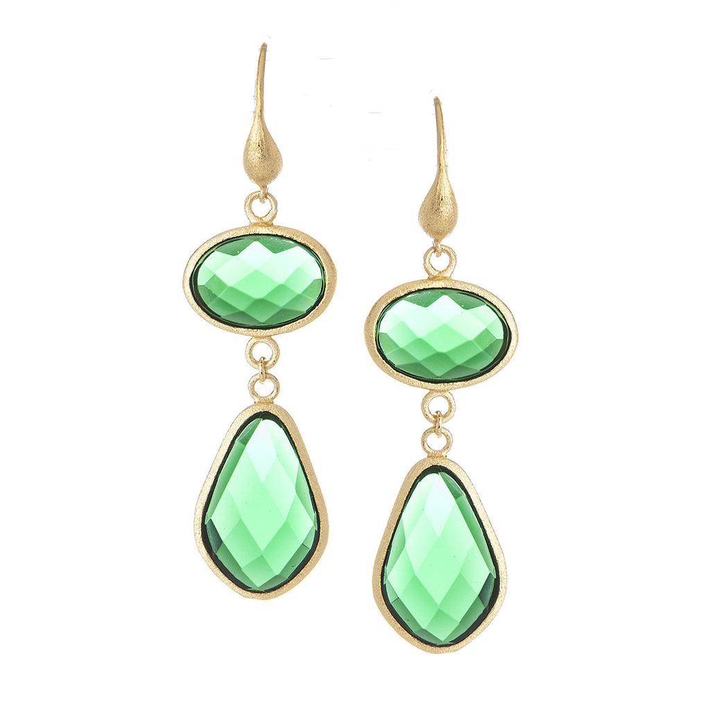 Emerald Crystal Double Dangle Earrings - Closeout
