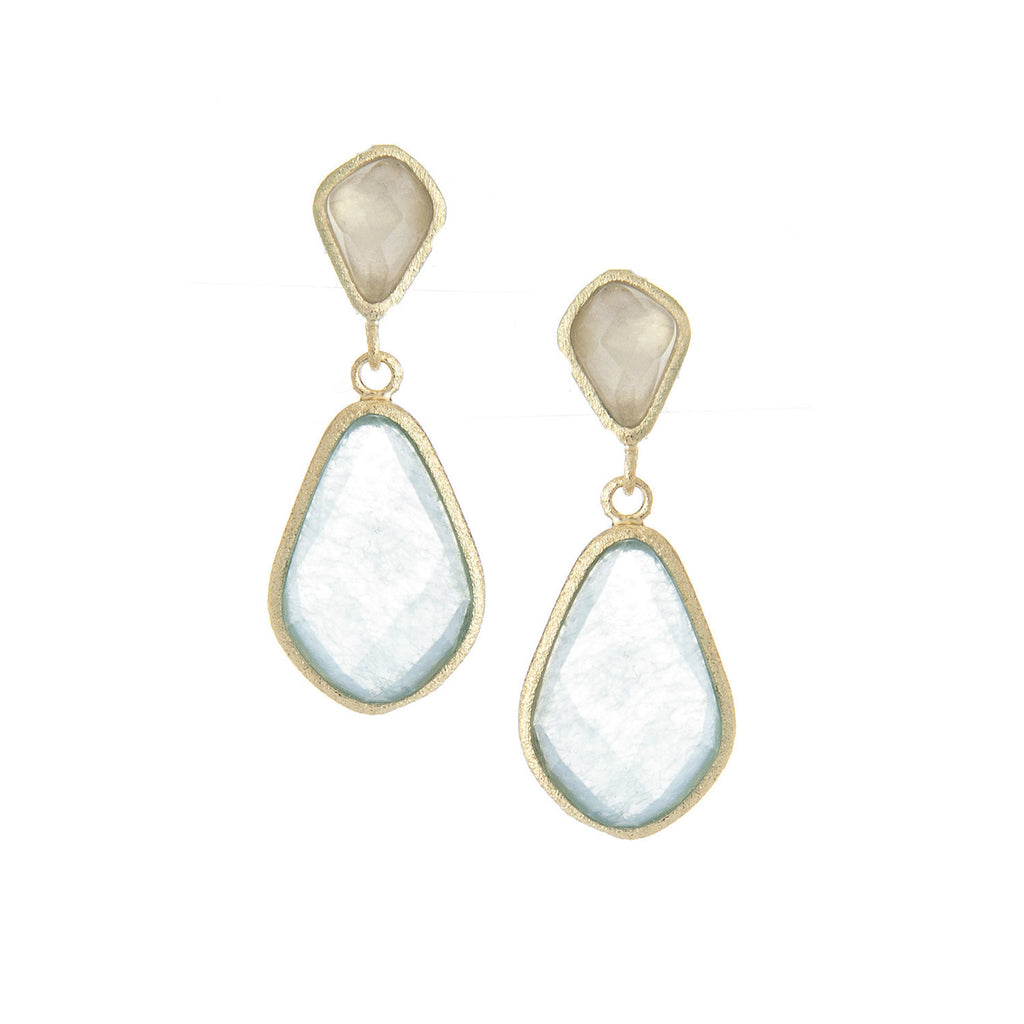 Caribbean Blue Quartzite Double Drop Earrings