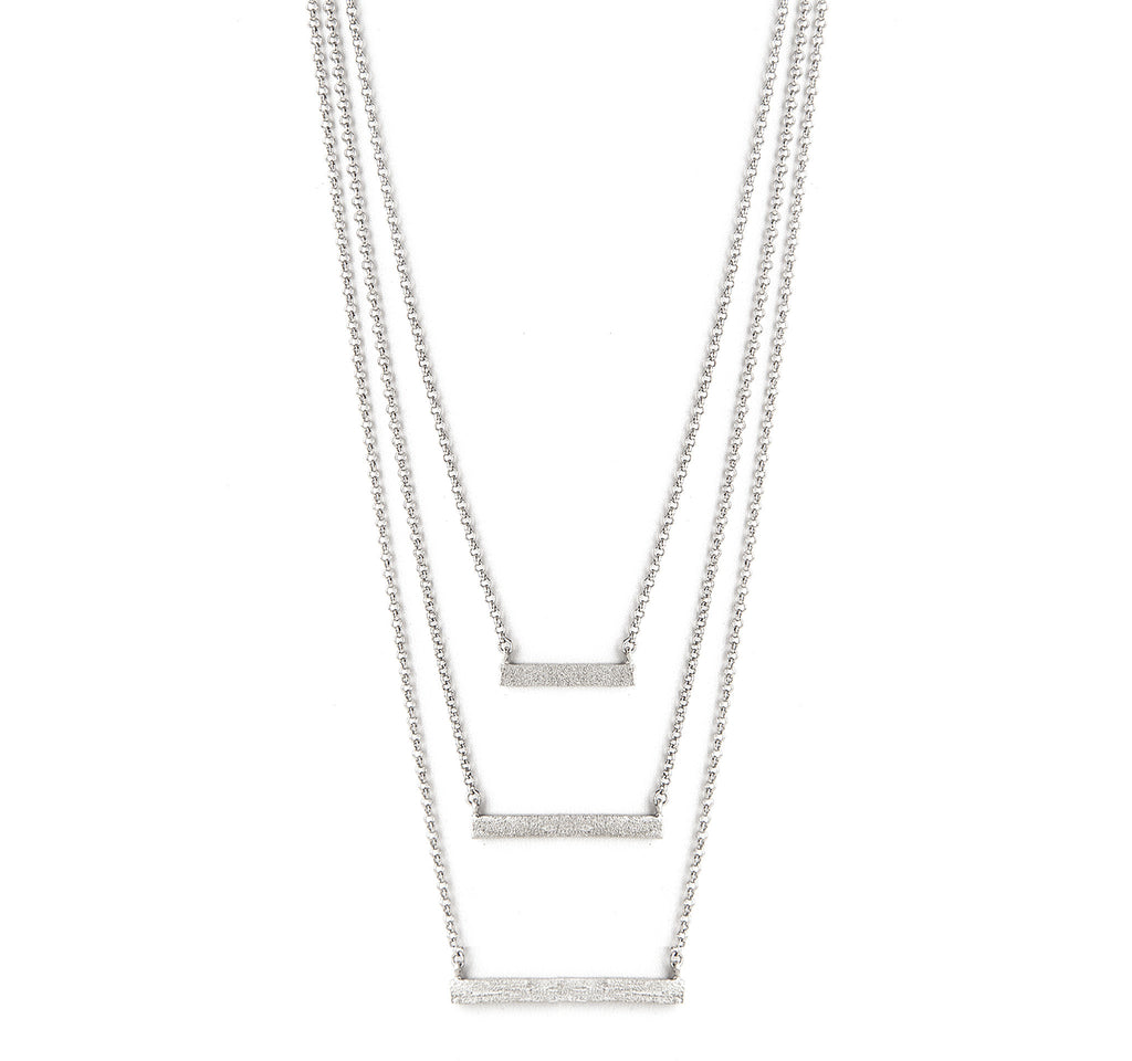 Rhodium Satin Layered Necklace - Closeout