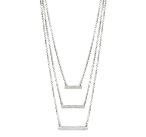 Rhodium Satin Triple Bar Necklace