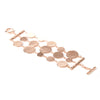 Rose Gold Polished 3 Row Disc Toggle Bracelet - Closeout