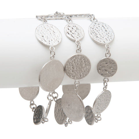 Rhodium Satin 3 Row Disc Toggle Bracelet