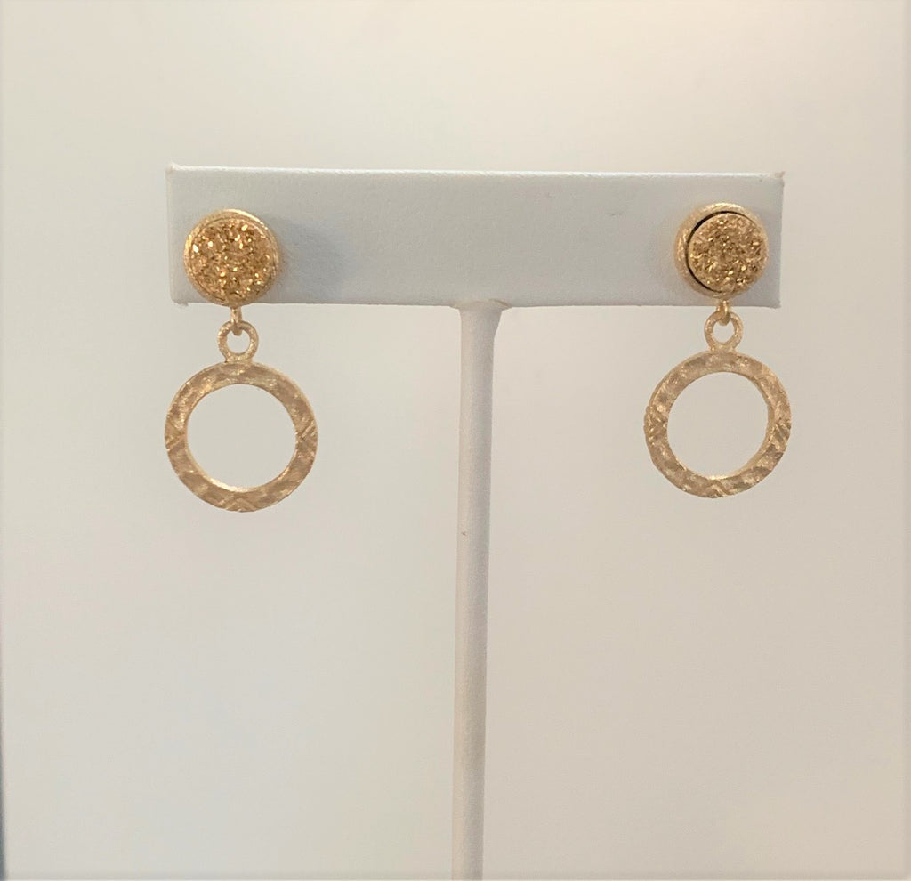 Gold Druzy Quartz + Hammered Circle Dangle Earrings - Closeout
