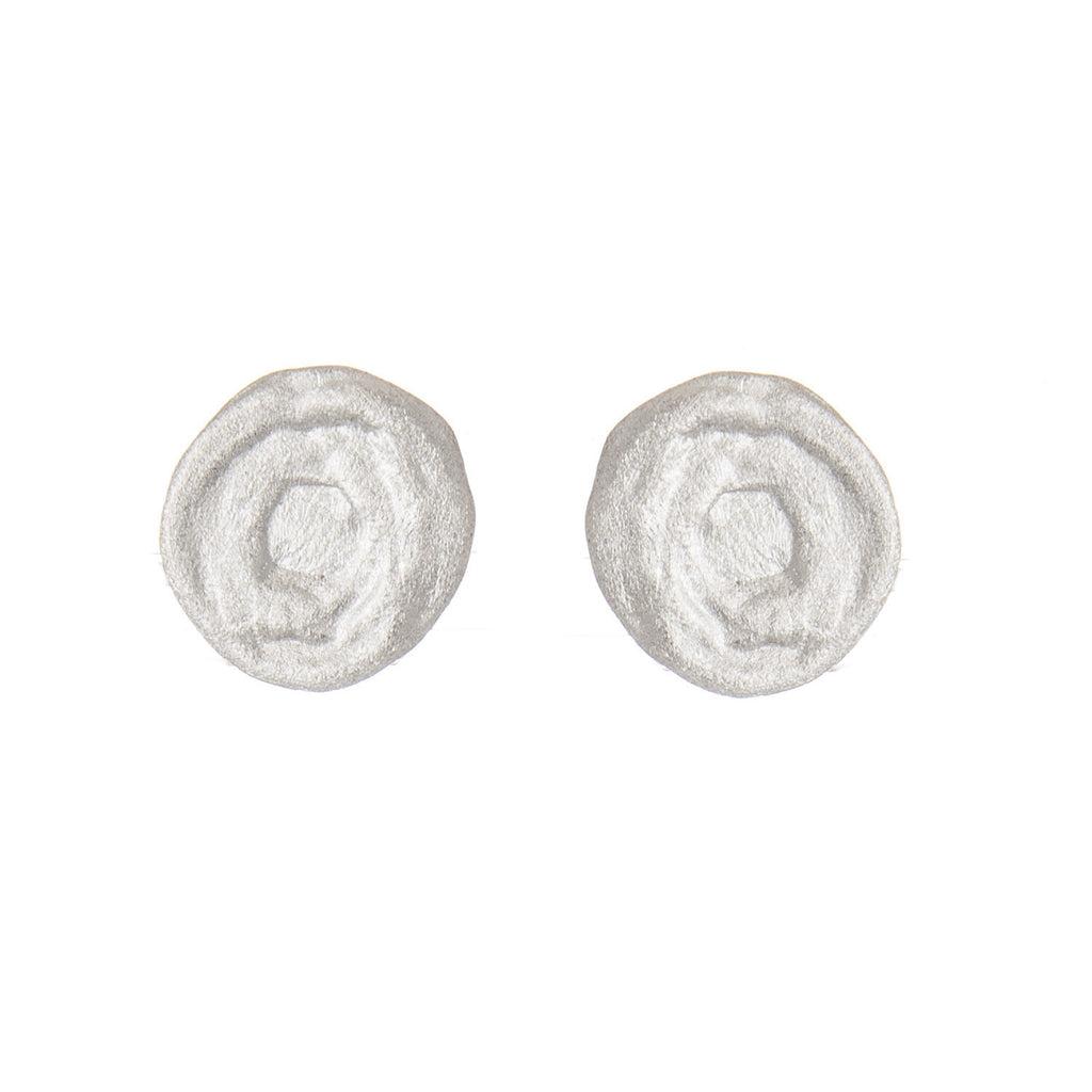 Swirl Disc Stud Rhodium Earrings