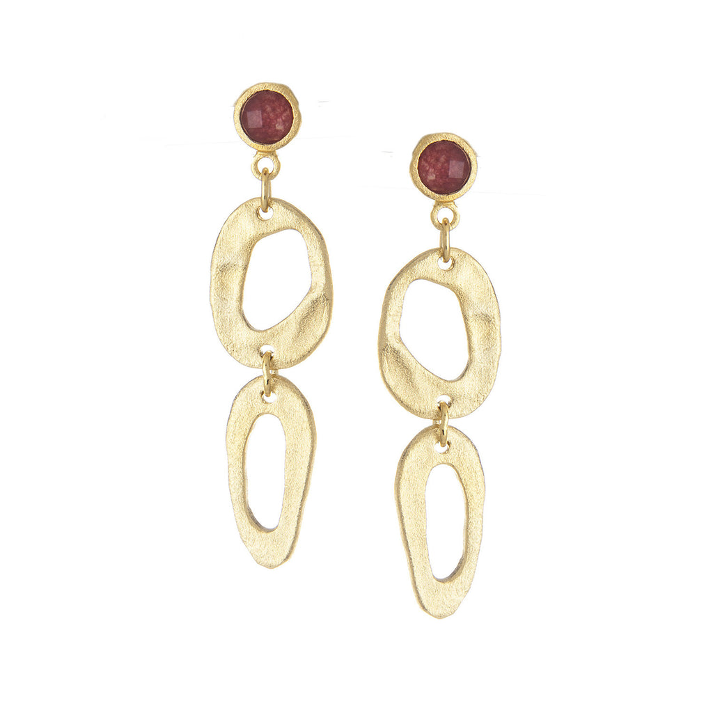 Red Quartzite + Organic Satin Oval Link Drop Earrings