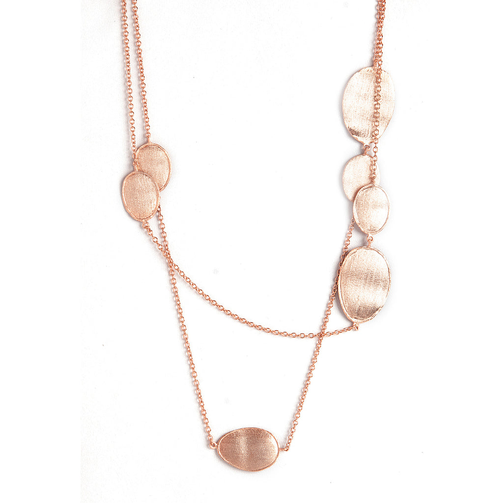Rose Gold Satin Oval Station Necklace