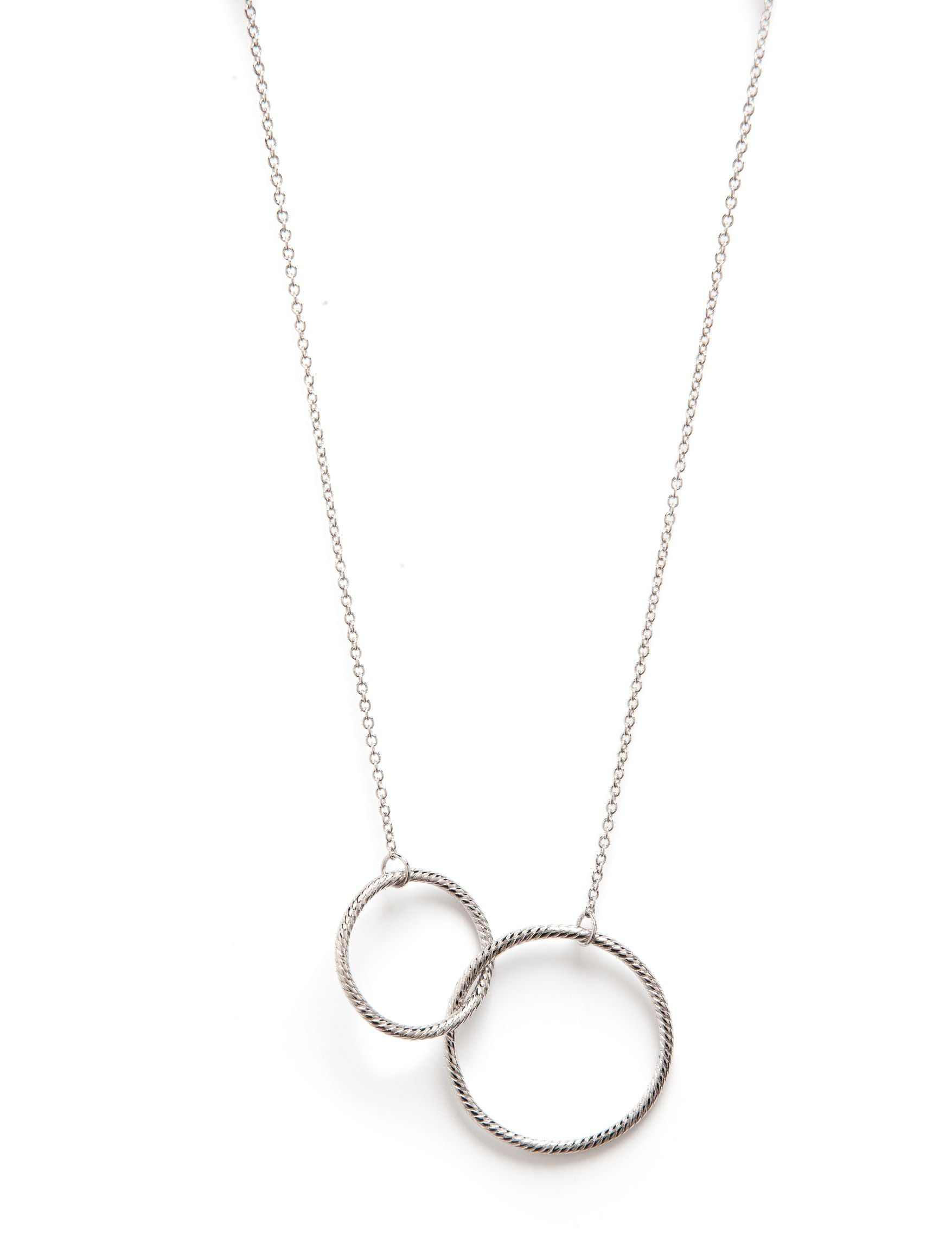 White Rhodium Interlocking Ring Necklace