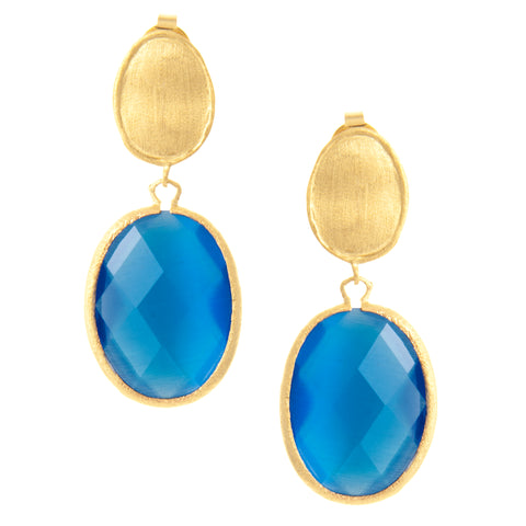Cat's Eye Blue Drop Earrings