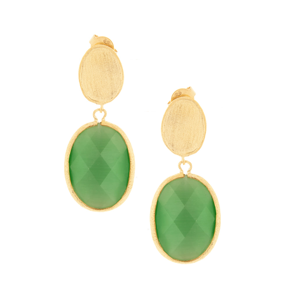 Cat's Eye Lime Drop Earrings