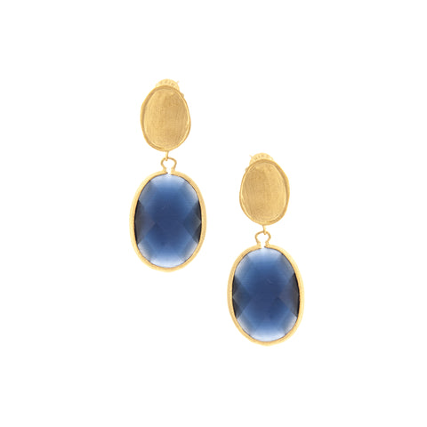 Cat's Eye Navy Drop Earrings