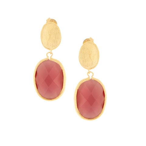 Cat's Eye Raspberry Drop Earrings