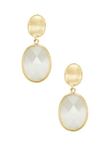 Cat's Eye White Drop Earrings