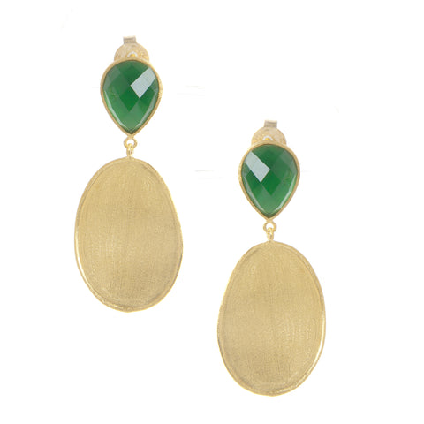 Emerald + Mother of Pearl + Satin Oval Drop Earrings