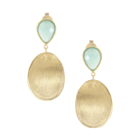 Mint Chalcedony + Satin Oval Drop Earrings