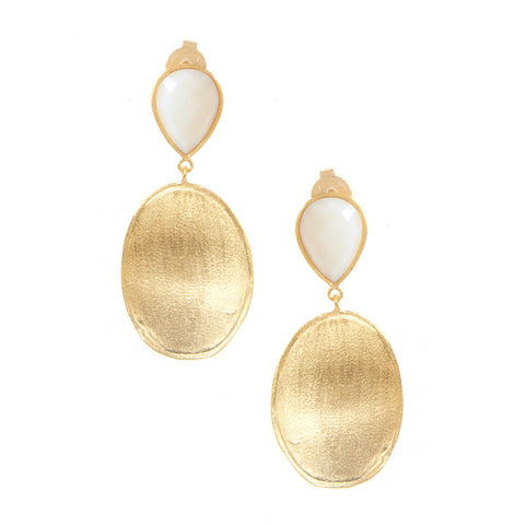 Rock Crystal-Mother of Pearl Doublet + Satin Oval Drop Earrings