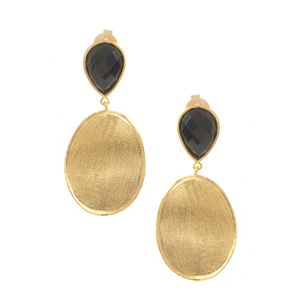 Onyx + Satin Oval Drop Earrings