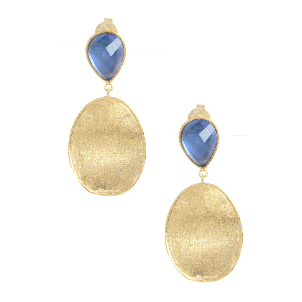 Poppy Blue + Satin Oval Drop Earrings