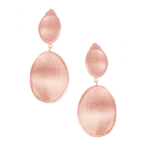 Rose Gold Satin Oval Drop Earrings