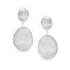 Rhodium Satin Oval Drop Earrings