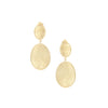 Satin Oval Drop Earrings - Yellow, Rose Gold + White Rhodium Finishes