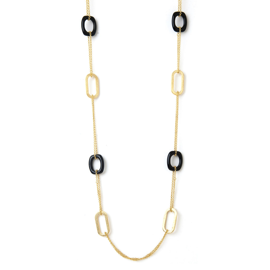 Black Onyx + Satin Link Long Necklace
