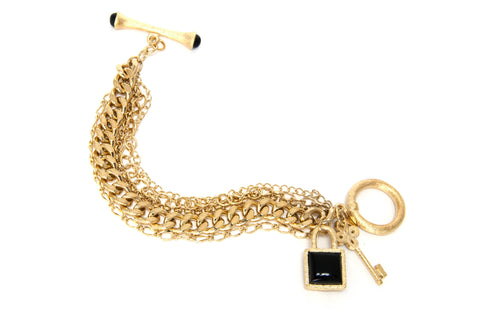 Multi Chain Gold Gem Stone Charm Toggle Bracelet