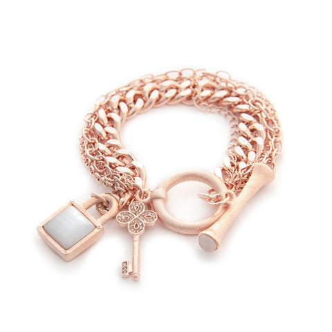 Multi Chain Rose Gold Gem Stone Charm Toggle Bracelet